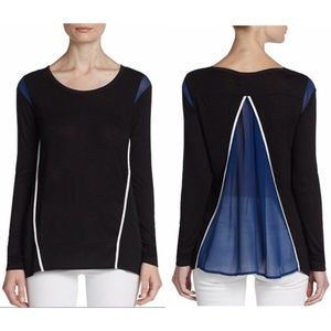 Sheer panel black and white long sleeve top